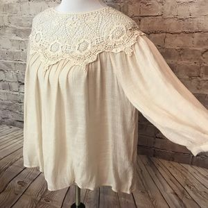 Anthropologie hd paris crochet blouse
